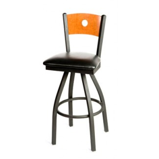 Bullseye Wood Back Swivel Metal Bar Stool