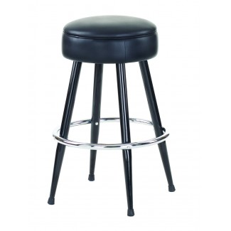 Button Bar Stool with Black Metal and Chrome Foot Ring 3580