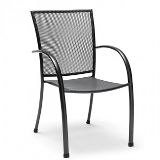 C0801-0200 Commercial Hospitality Pilano Stackable Mesh Wrought Iron Arm Chair oudoor