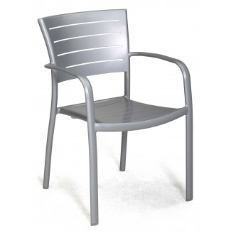 Jupiter Stacking Arm Chair with Aluminum Seat and Back
