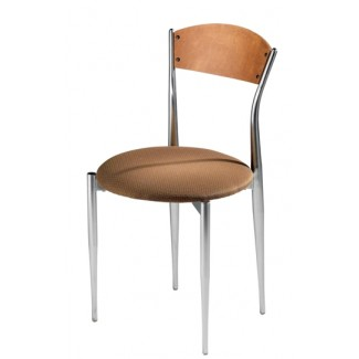 Café Twist Side Chair with Upholstered Seat and Wood Back 195-UPS