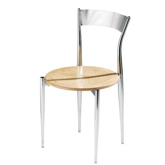 Caf&eacute Twist Side Chair with Wood Seat and Metal Back 193-WS
