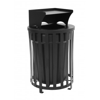 Cambridge Trash Receptacle with Liner, Lid and Tray Holder