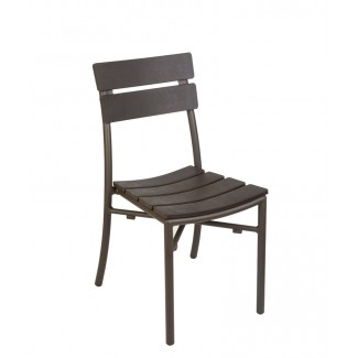 Camden Faux Teak Stacking Outdoor Hospitality Side Chair