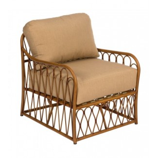 Cane S650011 Aluminum Bamboo Outdoor Upholstered Restauarnt Hotel Lounge Seating Arm Chair