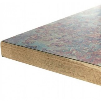 "24"" Square Laminate Table Top with Overlay Wood Edge"