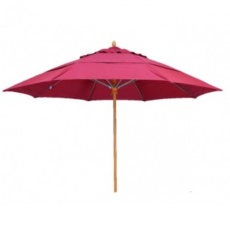 Athena 7.5' Square Faux Teak Restaurant Umbrella