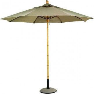 Commercial Restaurant Umbrellas Bambusa 11' Octagon Faux Bamboo Patio Umbrella