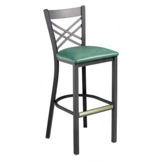Cross Back Bar Stool with Pullover Upholstered Seat 942