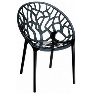 Crystal Stacking Resin Side Chair - Black