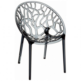 Crystal Stacking Resin Side Chair - Gray