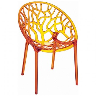 Crystal Stacking Resin Side Chair - Orange