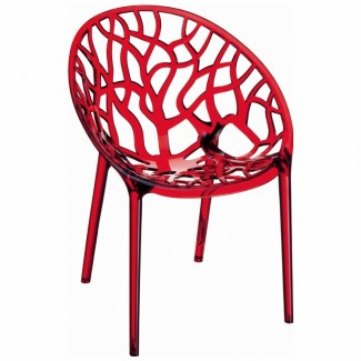 Crystal Stacking Restaurant Side Chair in Red