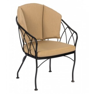 Delaney 2N0001SB Commercial Wrought Iron Restaurant Hospitality Dining Arm Chair Upholstered
