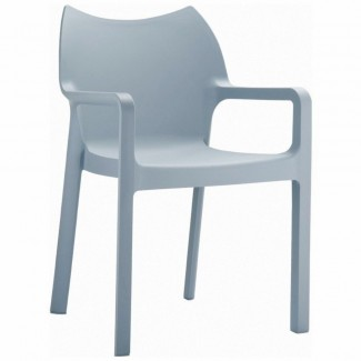 Diva Stacking Restaurant Arm Chair in White