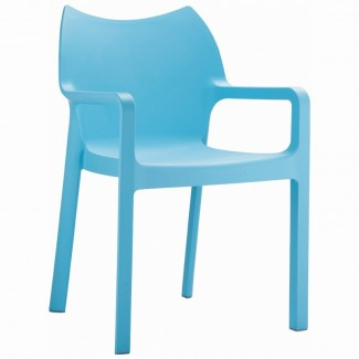 Diva Stacking Resin Arm Chair - Light Blue