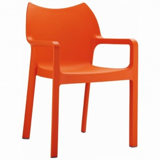 Diva Stacking Resin Arm Chair - Orange