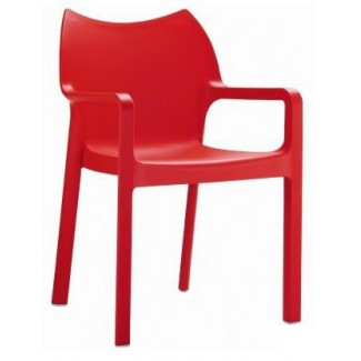 Diva Stacking Resin Arm Chair - Red