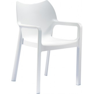 Diva Stacking Resin Arm Chair - White