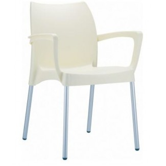 Dolce Stacking Resin Arm Chair - Beige