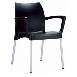 Dolce Stacking Resin Arm Chair - Black