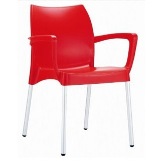 Dolce Stacking Resin Arm Chair - Red