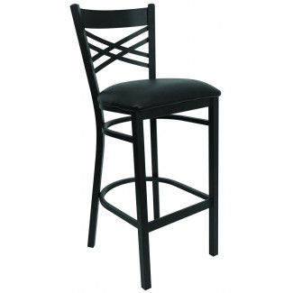 Double Cross Back Metal Bar Stool