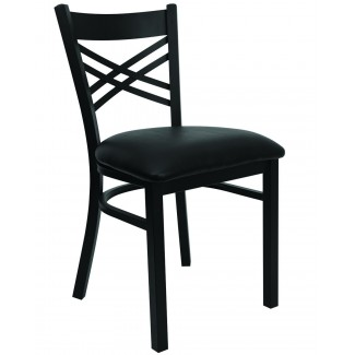 Double Cross Back Metal Dining Chair