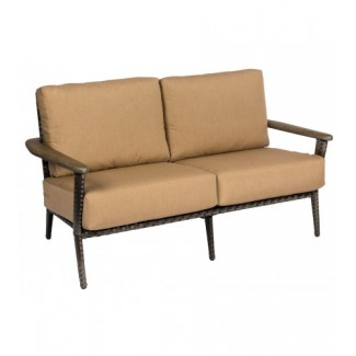 Draper S512021 Mid century Modern Outdoor Hotel Pool Lounge Commercial Woven Upholstered Loveseat