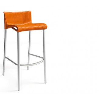 Duca Stacking Resin Bar Stool - Orange