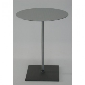 "24"" Round Brushed Aluminum Cafe Table"