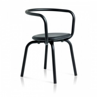 Eco Friendly Indoor Restaurant Furniture Emeco Parrish Series Side Chair - Black Powder Coat Black Leather