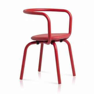 Eco Friendly Indoor Restaurant Furniture Emeco Parrish Series Side Chair - Red Powder Coat Red Fabric