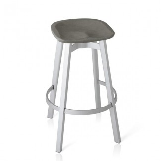 Eco Friendly Indoor Restaurant Furniture Emeco SU Series Bar Stool - Eco Concrete Seat - Black Anodized