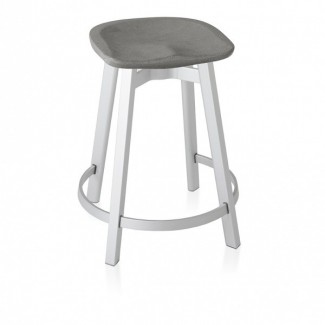 Eco Friendly Indoor Restaurant Furniture Emeco SU Series Small Stool - Eco Concrete Seat With Wooden Legs