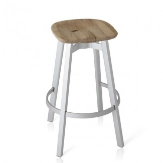 Eco Friendly Indoor Restaurant Furniture Emeco SU Series Bar Stool - Reclaimed Oak Seat With Wooden Legs