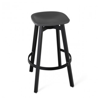 Eco Friendly Indoor Restaurant Furniture Emeco SU Series Counter Stool - Recycled Polyethylene Seat - Charcoal