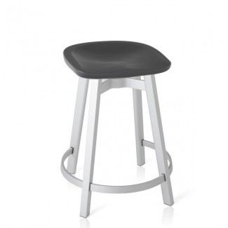 Eco Friendly Indoor Restaurant Furniture Emeco SU Series Counter Stool - Recycled Polyethylene Seat - Natural Anodized Charcoal