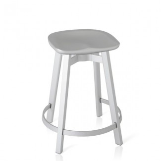 Eco Friendly Indoor Restaurant Furniture Emeco SU Series Counter Stool - Recycled Polyethylene Seat With Wooden Legs
