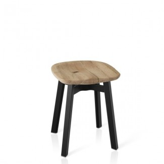 Eco Friendly Indoor Restaurant Furniture Emeco SU Series Small Stool - Reclaimed Oak Seat - Black Anodized