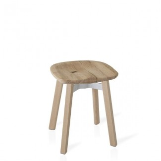 Eco Friendly Indoor Restaurant Furniture Emeco SU Series Small Stool - Reclaimed Oak Seat With Wooden Legs