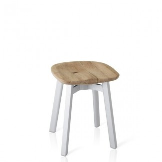 Eco Friendly Indoor Restaurant Furniture Emeco SU Series Small Stool - Reclaimed Oak Seat