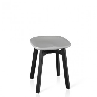 Eco Friendly Indoor Restaurant Furniture Emeco SU Series Small Stool - Recycled Polyethylene Seat - Black Anodized