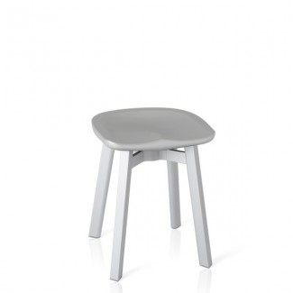 Eco Friendly Indoor Restaurant Furniture Emeco SU Series Small Stool - Recycled Polyethylene Seat With Wooden Legs