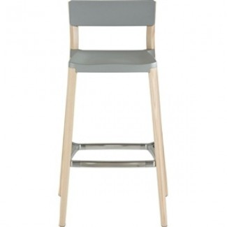 Lancaster Aluminum and Wood Non-Stacking Bar Stool