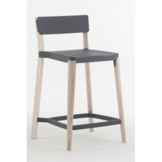 Eco Friendly Indoor Restaurant Furniture Lancaster Aluminum and Wood Stacking Counter Stool