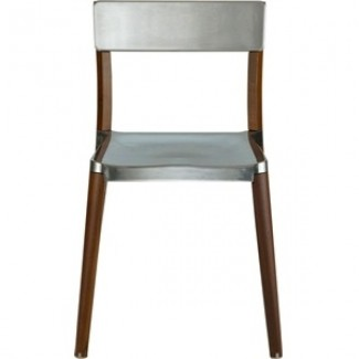 Lancaster Aluminum and Wood Stacking Side Chair