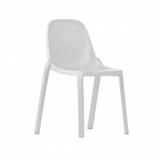 Eco Friendly Outdoor Restaurant Breakroom Chairs Broom Recycled Chair - White