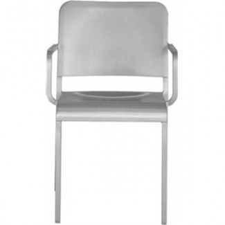 Eco Friendly Outdoor Restaurant Furniture 20-06 Aluminum Arm Chair - Hand Brushed