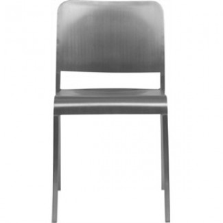 Eco Friendly Outdoor Restaurant Furniture 20-06 Aluminum Stacking Side Chair - Hand Brushed